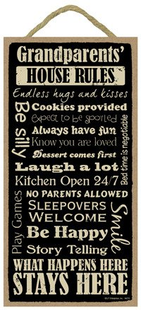 """Grandparents House Rules 5"""" x 10"""" wood sign plaque"""