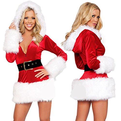 Parti signore di Santa costume delle donne del partito di Natale Fancy Dress Due Cosplay Suit (Free Size:S-XL, Bianco)