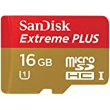 SanDisk Extreme Plus 16GB MicroSDHC UHS-I Memory Card Speed Up To 80MB/s With Adapter- SDSDQX-016G-U46A (Older Version)