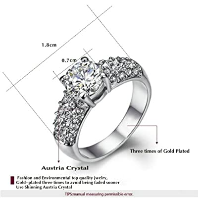 Yoursfs Rich Sheen 18k White Gold Plated 2CT Simulated Diamond Centre Fashion Crystal Wedding Ring