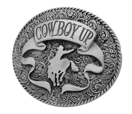 Buckle Rage Adult Mens Cowboy Up Rodeo Ornate Ribbon Belt Buckle Oval Silver