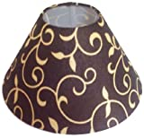 "10"" Round Brown Floral Design Lamp Shade for Table Lamp"