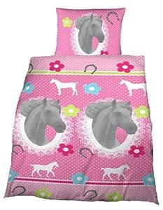 parure linge de lit housse de couette avec rabat taie d oreiller enfant cheval beauty rose. Black Bedroom Furniture Sets. Home Design Ideas