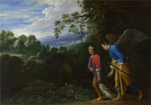 Perfect effect canvas ,the Replica Art DecorativePrints on Canvas of oil painting 'After Adam Elsheimer Tobias and the Archangel Raphael ', 10 x 14 inch / 25 x 37 cm is best for Wall art decoration and Home decor and Gifts