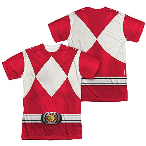 Power Rangers Children's Live Action TV Series Red Costume Adult 2Side Print Tee