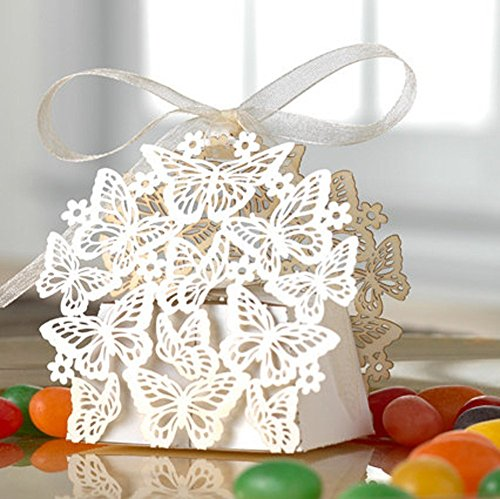 50 Pack Laser Cut Butterfly Wedding Favor Box Birthday Shower Party Candy Boxes Bomboniere Ribbon Gift Box (White)