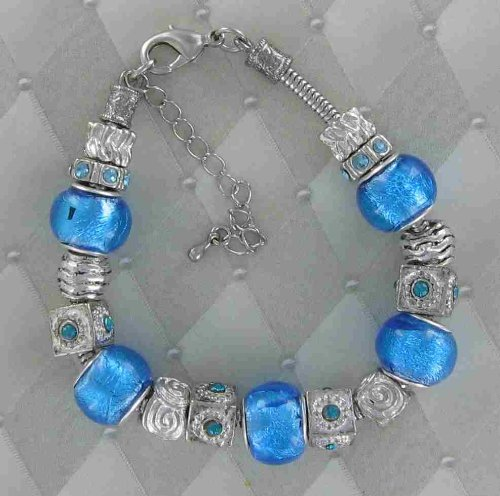 Pandora Italian European Style Beads Silver Foil Turquoise Ocean Blue Pretty Color Lampwork Murano Style Glass Bead with Bracelet (Antique Look, Yet Trendy and Elegant). Great Gifts! Happy Valentine's Day!