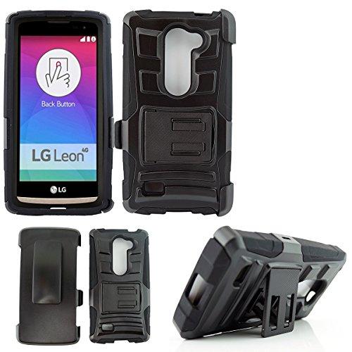 Lg Volt 2 Case, Lg Magna Case, Customerfirst Lg Volt 2 / Lg Ls751 Rugged Series - Heavy Duty Dual Layer Holster Case Kick Stand with Locking Belt Swivel Clip (H STAND BLACK)