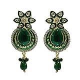 Unicorn Ethnic Wear Earrings with Kundan and Pearls for Women (Green) - UESHER7805G