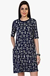 Funk For Hire Women Cotton Sinkar knit Wall printed sleeved Short Dress (Navy Blue, Size M)