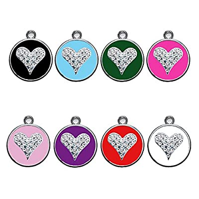 Personalized Engraved Designers Heart crystals dog id tag cat tag by CNATTAGS