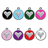 Personalized Engraved Designers Heart crystals dog id tag cat tag by CNATTAGS (Pink)