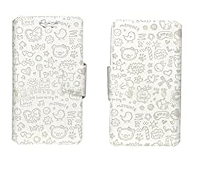 J Cover Teddy Series Leather Pouch Flip Case With Silicon Holder For Motorola Google Nexus 6 32 GB White