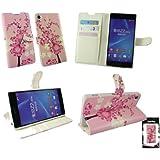 Emartbuy® Sony Xperia Z2 Brieftaschen Wallet Etui Hülle Case Cover aus PU Leder Rosa Blossom mit Kreditkartenfächern