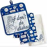 Disney Park Cinderella I Dont Do Dishes Kitchen Towels Potholder Set NEW