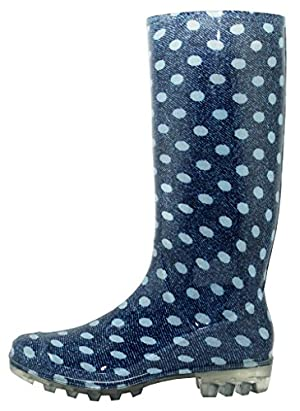 Hazel's Fasion Women's Durable Rubber Rainboot and GardenBoots, Denim Dots, US Women's 8 B(M)