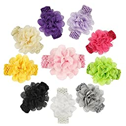 ROEWELL® Baby\'s Headbands Girl\'s Hair Bows Newborn headband Hair Flower (10 pcs)