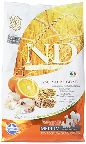 Farmina (Russo Mangimi) - Natural & Delicious Low Ancestral Grain Adult Medium con Merluzzo e Arancia Sacco 2,50 kg
