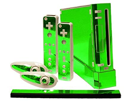 Nintendo Wii Skin - NEW - LIME CHROME MIRROR system skins faceplate decal mod