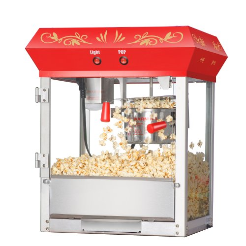 Great Northern Popcorn Red Foundation Antique Style Popcorn Popper Machine with 4-Ounce Kettle
