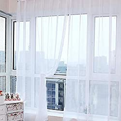 2016 Modern Style Room Wedding Colorful Floral Tulle Voile Door Window Curtain Sheer Valances Scarf 11 Types (1PCS 200X100CM, white)