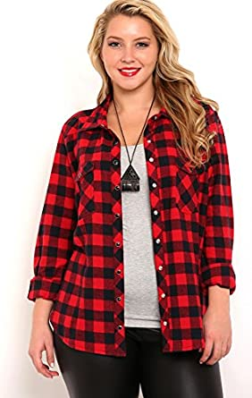 Flannel shirts for women deals on 1001 blocks for Plus size plaid flannel shirt