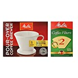 Melitta 64101 Porcelain #2 Cone Brewer with Cone Coffee Filter #2 - Natural Brown 100 Count