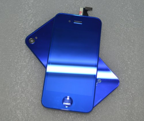 Iphone 4S Retina Lcd Digitizer Full Repair/Replacement Kit Back Cover/ Warranty (Blue Mirror)