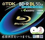 TDK 録画用ブルーレイディスク 50GB BD-R(1回録画用) 4X ホワイトワイドプリンタブル 10mmケース 3枚パック BRV50PWB3S