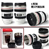 Camera Lens Cup Stylish Drinking Coffee / Tea Mug lined with stainless steel Designed To Look Like A Canon SLR Lens (Color:White&Black)