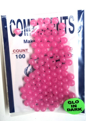 6MM-Beads-Pink-Glow-in-the-Dark-100-Pack-for-Fishing-Tackle-or-Jewelry-6MMPIGLO-Hard-Plastic