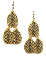 Catherine Popesco 14K Gold Plated 2 Tiered Chandelier Black Diamond Swarovski Crystal Dangle Earrings