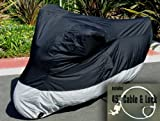 Light Weight Motorcycle cover (L). Fits up to 84″ length sport bike, dirt bike, small cruiser. Includes cable and lock.