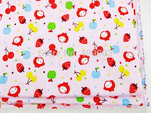 FunnyPicker 50x147Cm Strawberry Cherry Girl Pattern Cotton Fabric Diy Handmade Patchwork Home Textile (Cherry Car Seat Covers For Girls compare prices)