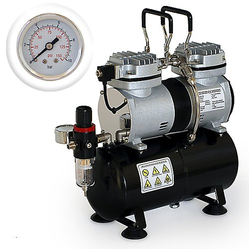 Pro Airbrush Air Compressor Twin Piston w/ Tank 1/3 HP