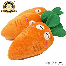 CatYou Pet Squeak Chew Plush Toy for Dog Cat Pet, Carrot Style