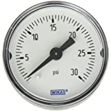 WIKA 9690217 Commercial Pressure Gauge, Dry-Filled, Copper Alloy Wetted Parts, 1-1/2
