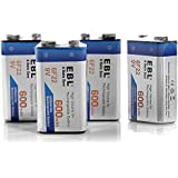 EBL® 4 Pack High Volume 600mAh 9V 6F22 Lithium-ion Low Self-discharge Rechargeable Battery