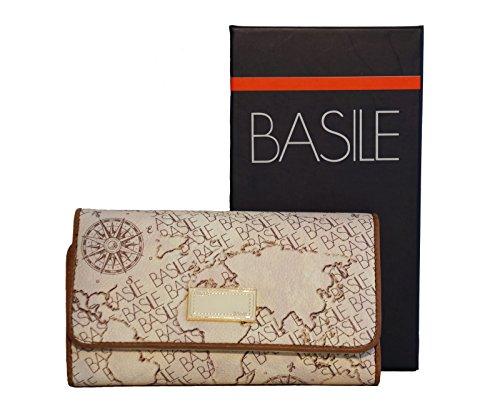 Portafoglio Donna Basile Linea Pantelleria In Ecopelle Modello Medio Trifold, Colore: Beige