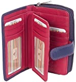 VISCONTI LADIES SOFT LEATHER PURPLE/DEEP PINK PURSE WALLET 16 CARD SLOT CD22
