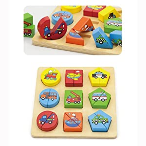 Wooden Block Shapes - Wooden Puzzle Vehicle Themed from Viga
