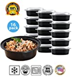 Round Plastic Meal Preparation Container / Food Saver with Clear Lid, Microwave & Dishwasher Safe, 24 ounce, 16 pack