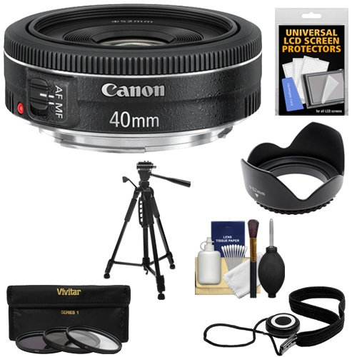 Canon EF 40mm f/2.8 STM Pancake Lens with 3 (UV/CPL/ND8) Filters + Hood + Tripod + Accessory Kit for EOS 6D, 70D, 5D Mark II III, Rebel T3, T3i, T4i, T5, T5i, SL1 DSLR Cameras (Canon 7d Mark Ii Experience compare prices)