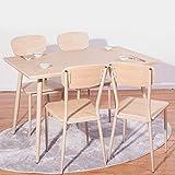 (OSJ)ダイニングテーブル&チェア 幅120cm 木製 5点ダイニングセット 北欧 無垢 (ナチュラル)