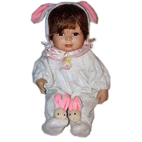 Crowne Collectible Porcelain Baby Doll Pink Bunny Onesie 8.5