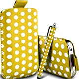 Gadget Giant Yellow Polka Dots PU Leather Pull Tab Protective Pouch Case Cover & Capacitive LCD Touch Screen Stylus For HTC Tattoo