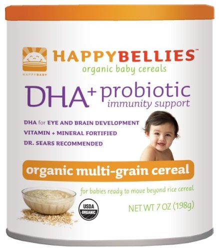HAPPYBELLIES Oganic Baby Cereals, DHA + Probiotic, Organic Multigrain Cereal, 7-Ounce Canisters (Pack of 6)