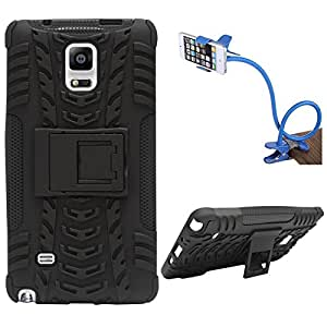 DMG Heavy Duty Mesh Protection Dual Layer Back Cover Case with Kickstand for Samsung Galaxy Note 4 N9100 (Black) + Flexible Sturdy Long Stand