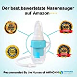 Premium Nasal Aspirator for Baby, Soft Silicone, Non-irritating Tip, Washable and Reusable, No Filters Needed, Hospital Grade Snot Sucker for Baby Nose Congestion (Blue & Pink Options See Below)