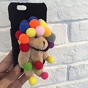 GENERIC Fluffy Back Case Cover for iPhone 6/6S/6 Plus/6S Plus Colorful Bear(black(iphone6s plus)